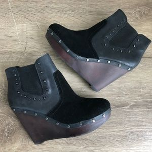 Dr Scholls Abbey Studded Wedge Booties 8M